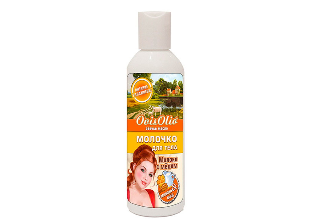 OvisOlio Овечье Масло МОЛОЧКО для тела Молоко и Мёд 200 мл